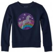 Girls Active Long Sleeve Embellished Graphic Fleece Sweatshirt