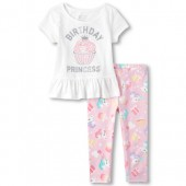 Toddler Girls Short Sleeve Glitter 'Birthday Princess' Cupcake Peplum Top And Print Leggings Set