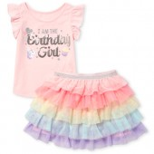 Baby and Toddler Girls Short Flutter Sleeve Embellished 'Birthday Girl' Unicorn Top And Rainbow Ruffle Woven Skirt Set