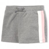 Girls Active Side Stripe French Terry Shorts