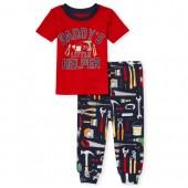 Baby And Toddler Boys Short Sleeve 'Daddy's Helper' Tools Snug Fit Cotton Pajamas