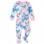 Baby And Toddler Girls Long Sleeve Butterfly Snug Fit Cotton Footed One Piece Pajamas