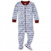 Baby And Toddler Boys Long Sleeve 'Handsome Little Dude' Snug Fit Cotton Footed One Piece Pajamas