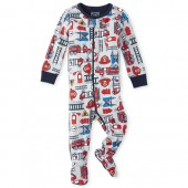 Baby And Toddler Boys Long Sleeve Fire Truck Snug Fit Cotton Footed One Piece Pajamas