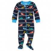 Baby And Toddler Boys Long Sleeve Construction Snug Fit Cotton Footed One Piece Pajamas