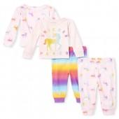 Baby And Toddler Girls 'Unicorn Power' Snug Fit Cotton 4-Piece Pajamas