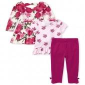 Baby Girls Floral Playwear 3-Piece Set