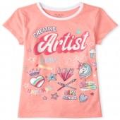 Girls Glitter Artist Doodle Graphic Tee