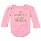 Baby Girls Long Sleeve Glitter 'Mommy Is The Queen' Crown Graphic Bodysuit