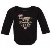Baby Girls Long Sleeve Glitter 'Queen Of Daddy's Heart' Graphic Bodysuit