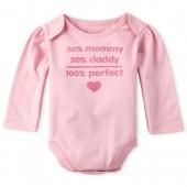 Baby Girls Long Sleeve Glitter '100 Percent Perfect' Graphic Bodysuit