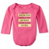 Baby Girls Long Sleeve Glitter 'I'm The Princess' Graphic Bodysuit