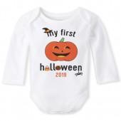 Unisex Baby Long Sleeve 'My First Halloween 2019' Pumpkin Graphic Bodysuit