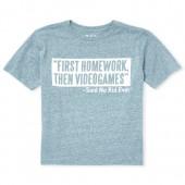 Boys Short Sleeve 'Homework Then Videogames' Graphic Tee
