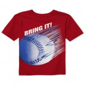 Boys Short Sleeve 'Bring It' Baseball Graphic Tee