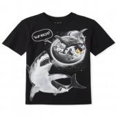 Boys Short Sleeve 'Sup Bros' Space Shark Graphic Tee