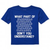 Boys Short Sleeve 'Don't You Understand' Binary Code Graphic Tee