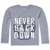 Boys Long Sleeve 'Never Back Down' Graphic Tee