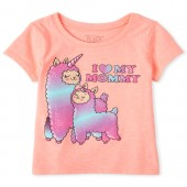 Baby And Toddler Girls Glitter Mommy Llamacorn Graphic Tee