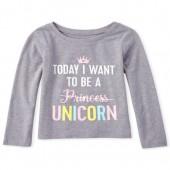 Baby And Toddler Girls Glitter Unicorn Graphic Tee