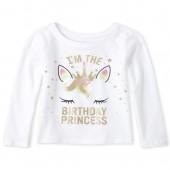 Baby And Toddler Girls Glitter Birthday Princess Graphic Tee