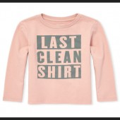 Baby And Toddler Boys Long Sleeve 'Last Clean Shirt' Graphic Tee