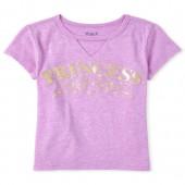 Girls Short Sleeve Glitter 'Princess' Cut Out Graphic Tee