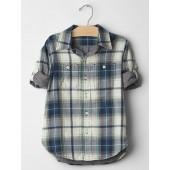 Plaid double-weave convertible shirt