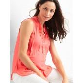 Maternity sleeveless henley top