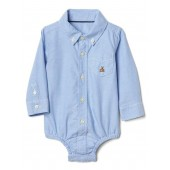 Oxford button-up bodysuit