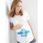Maternity graphic short sleeve tunic tee
