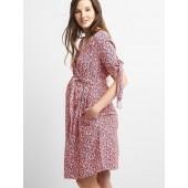Maternity Tie-Sleeve Wrap Dress in Crepe