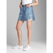 Denim Mini Skirt with Destruction