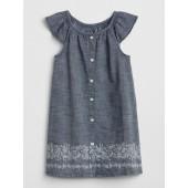 Print Flutter Chambray Dress