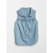 Ruffle Sleeveless Denim Shirt