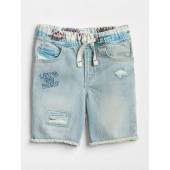 Pull-On Hawaiian Denim Shorts