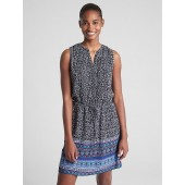 Sleeveless Mix-Print Pintuck Shirtdress