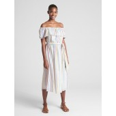 Off-Shoulder Ruffle Metallic Stripe Midi Dress