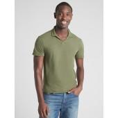 Short Sleeve Polo T-Shirt in Linen-Cotton