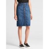High Rise Button-Front Denim Pencil Skirt