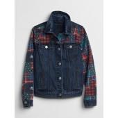 Icon Plaid Patchwork Denim Jacket