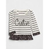 Organic Stripe Ruffle T-Shirt