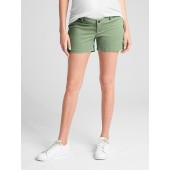 Maternity Inset Panel Summer Shorts in Stretch Twill