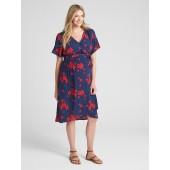 Maternity Floral Print Faux-Wrap Dress