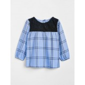 Lace Yoke Plaid Top