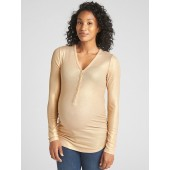 Maternity Ribbed Long Sleeve Henley in Modal