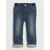 Print-Lined Straight Jeans