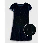 Velvet Star-Sparkle Drop-Waist Dress