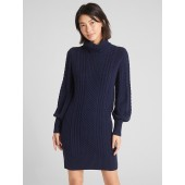 Turtleneck Cable-Knit Sweater Dress