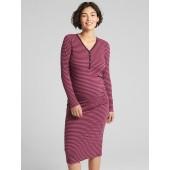 Maternity Ribbed Long Sleeve Henley Midi T-Shirt Dress